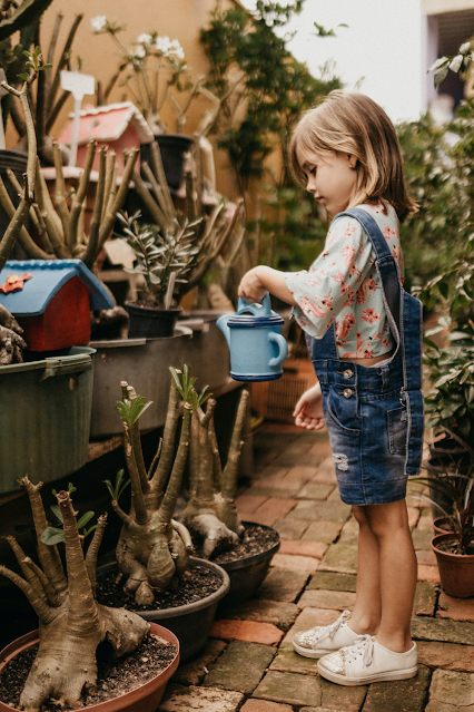 Young Girl Watering Plants While Learning Botany