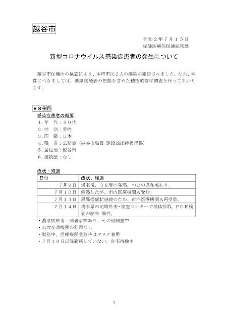 新型コロナウイルス感染症患者の発生について(7月15日発表)