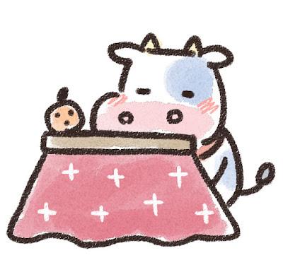 コタツでくつろぐ牛のイラスト(丑年)