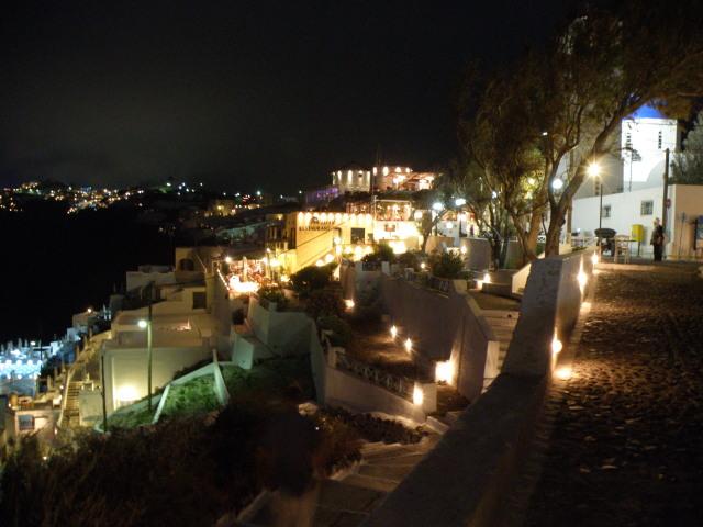 Firostefani bei Nacht, Santorin