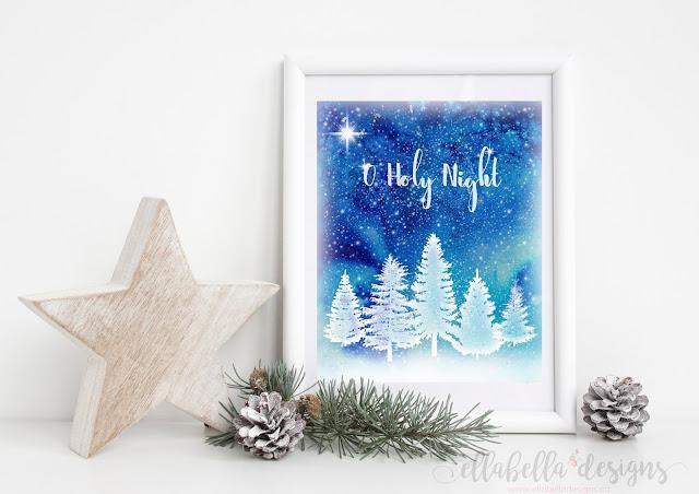 O Holy Night Christmas Winter Wall Art Decor Printable by Ellabella Designs