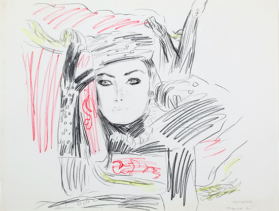 Karen Kilimnik  Still wearing the hat and gloves amid overturned sofa, thats a serious fashionable, 1985 crayon and pastel on paper 19 x 25 inches