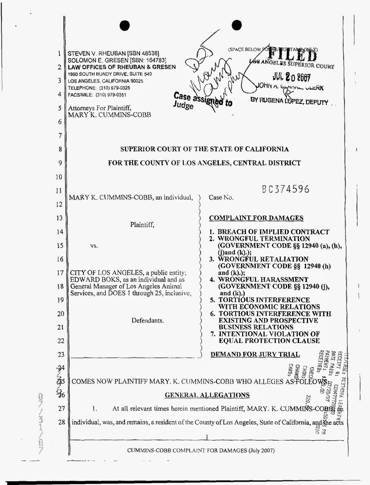 Mary Cummins, Mary Cummins-Cobb vs City of Los Angeles, Ed Boks, Edward Boks, lawsuit, complaint, sexual harassment, win, settlement.