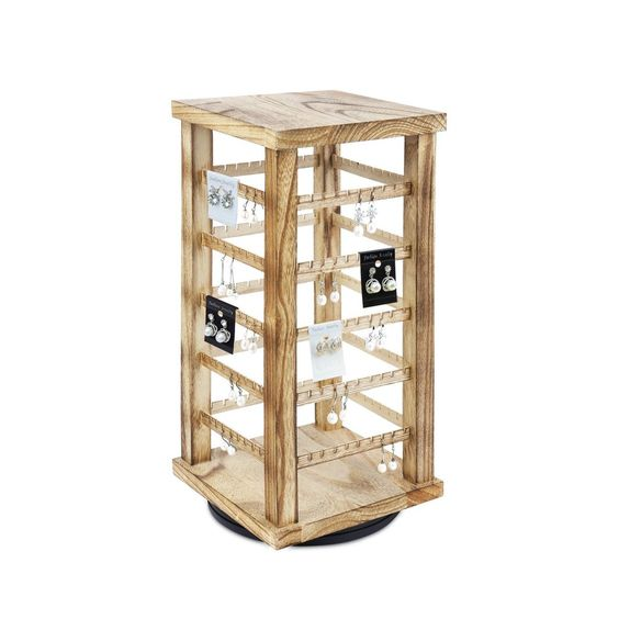 #WD3600-OK Wooden Rotating Earring Display Rack,Oak