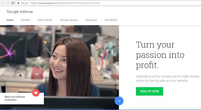 Halaman Depan Google AdSense
