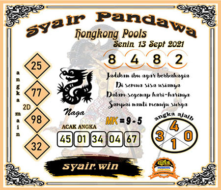 Syair Pandawa HK Senin 13-Sep-2021