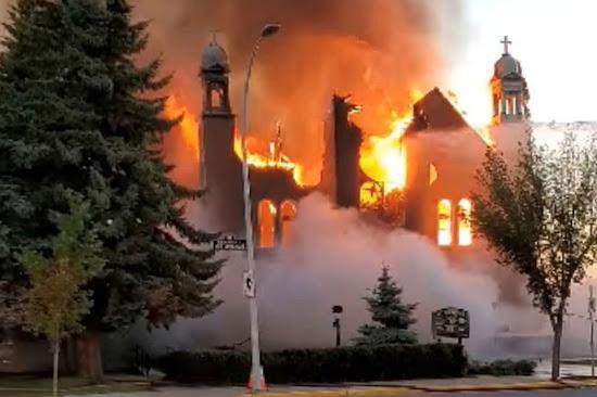 Catholic church arson crime vandalism Canada