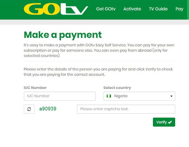 Make Payment or Subscribe Through GOtv Website
