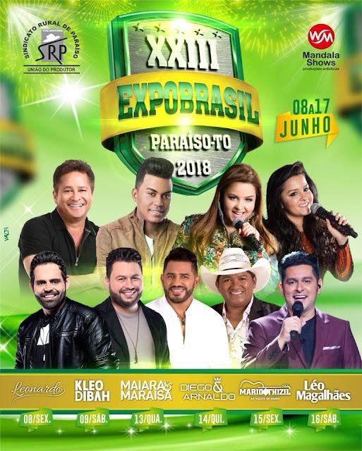 atrações expobrasil 2018 sertanejo shows