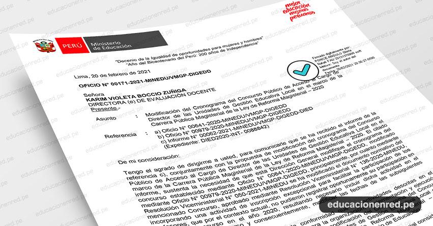 OFICIO N° 00171-2021-MINEDU/VMGP-DIGEDD.- Modificación del Cronograma del Concurso Público de Acceso al Cargo de Director de UGEL