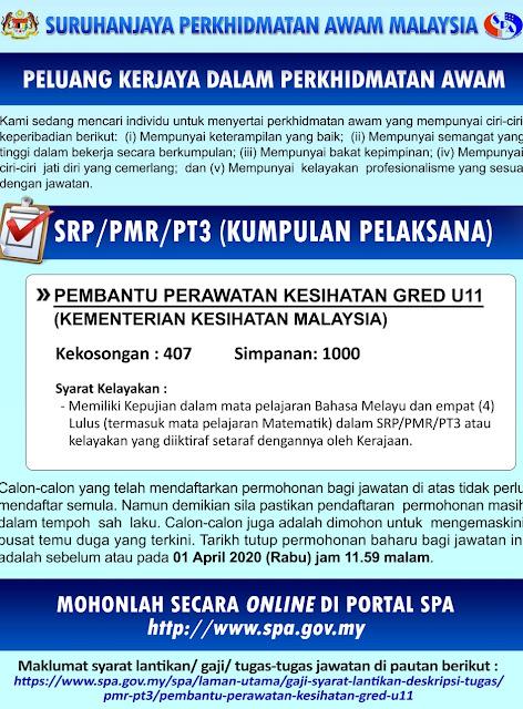 Jawatan Kosong Pembantu Perawatan Kesihatan U11 2020