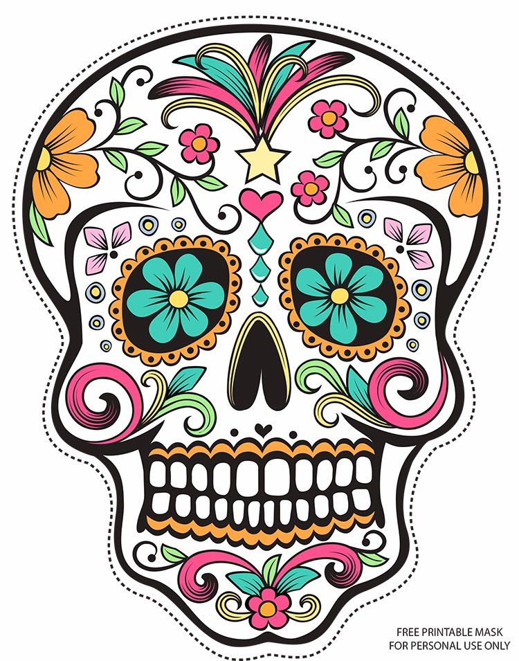 Day of the Dead Sugar Skull coloring page Free Printable - free printable face masks