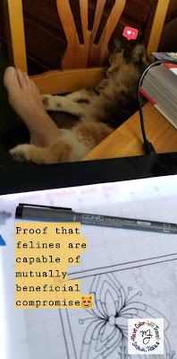 An artist draws a flower in ink at her desk and her cat is asleep on her leg under the desk.