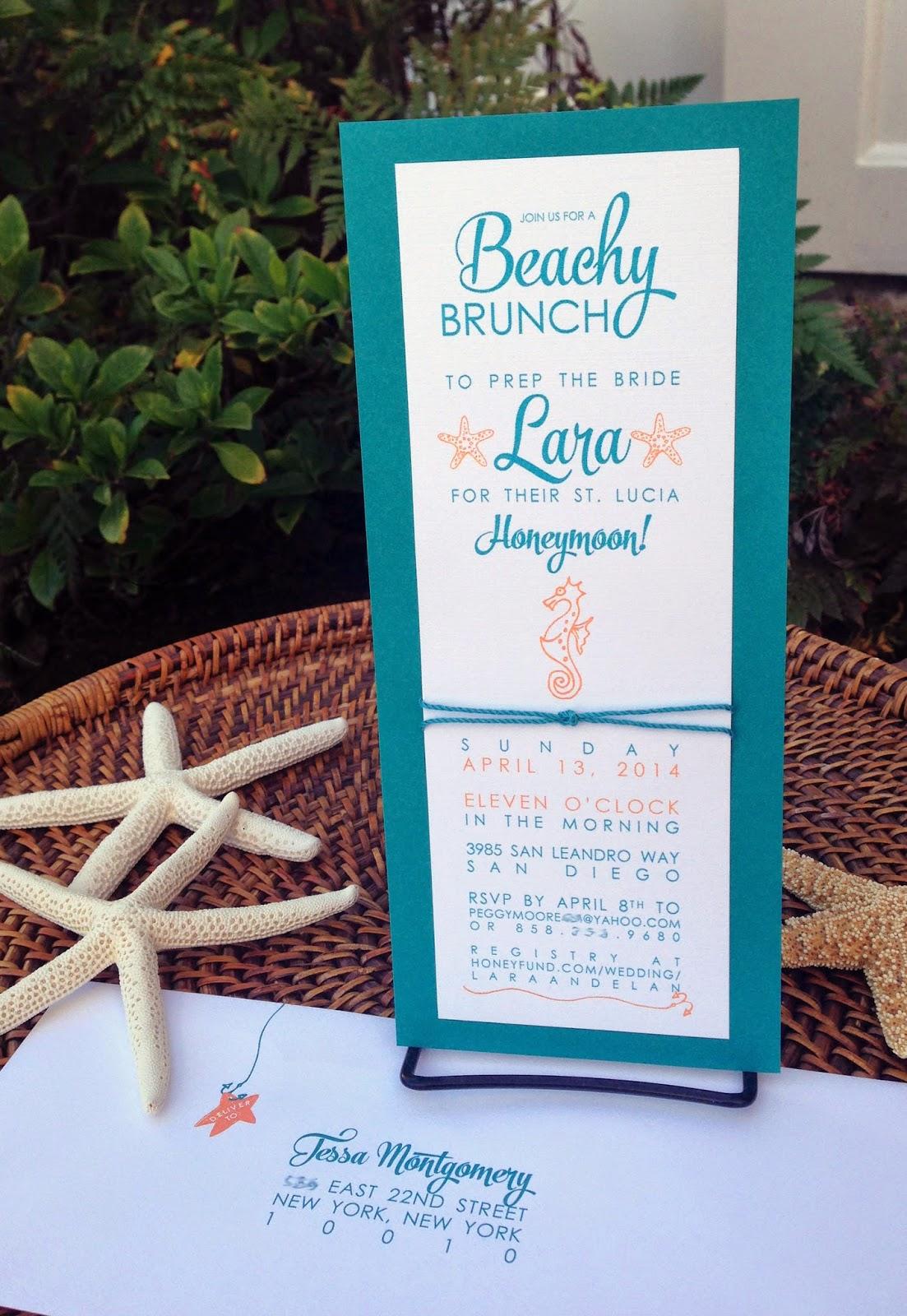 Beachy Bridal Shower Invitations