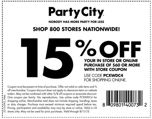 Party City Coupons January 2015