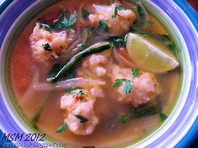 Shrimp Ball Soup w/ Roasted Pepper & Tomato