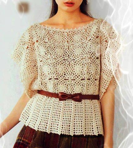 Patrón #1732: Linda Blusa Tejida a Crochet