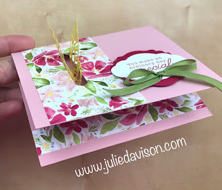 RETIRING!! Stampin' Up! Springtime Impression Butterfly Pull-Through Card with VIDEO Tutorial ~ www.juliedavison.com #stampinup