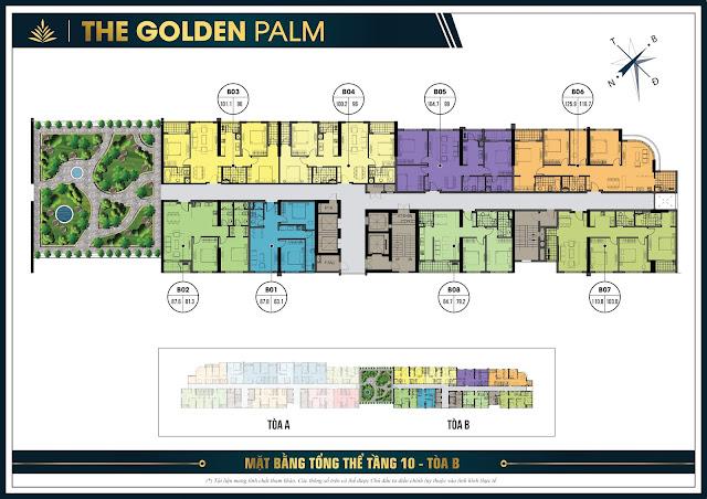 Mặt băng tổng thể tầng 10 tòa B chung cư The Golden Plam