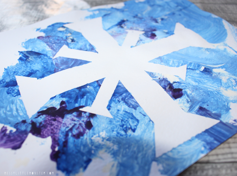 snowflake art for toddlers and preschoolers. East winter craft.
