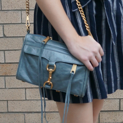 Rebecca Minkoff 2012 sky grey mini MAC bag with navy stripe culottes | away from the blue