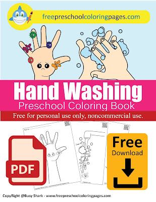 hand washing free preschool coloring pages, free printables germs activity for kids , health habits wash your hands steps for kids.jpg pages and book pdf download