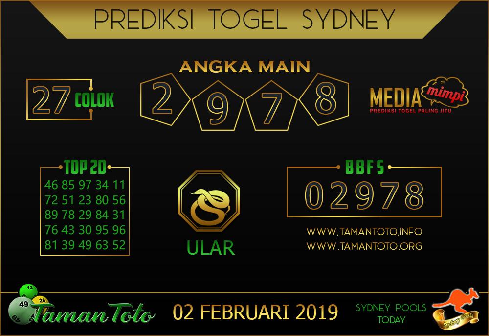 Prediksi Togel SYDNEY TAMAN TOTO 02 FEBRUARI 2019