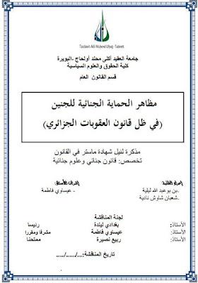 مذكرة ماستر: مظاهر الحماية الجنائية للجنين PDF