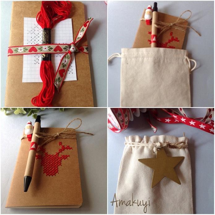regalo hecho a mano para navidad con una libreta,  y el material necesario para bordar un dibujo en su tapa a punto de cruz