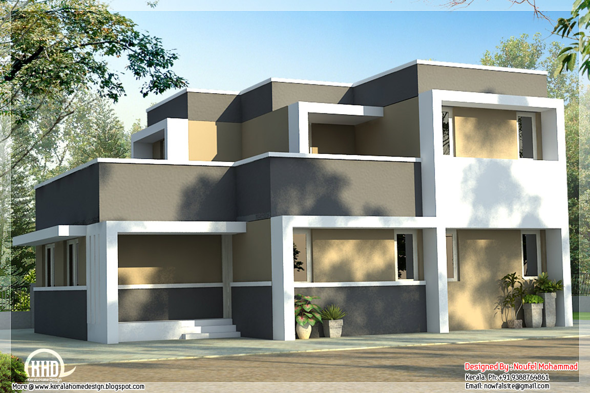 Economical free house plan of a 2 storied house kerala for Types of duplex houses