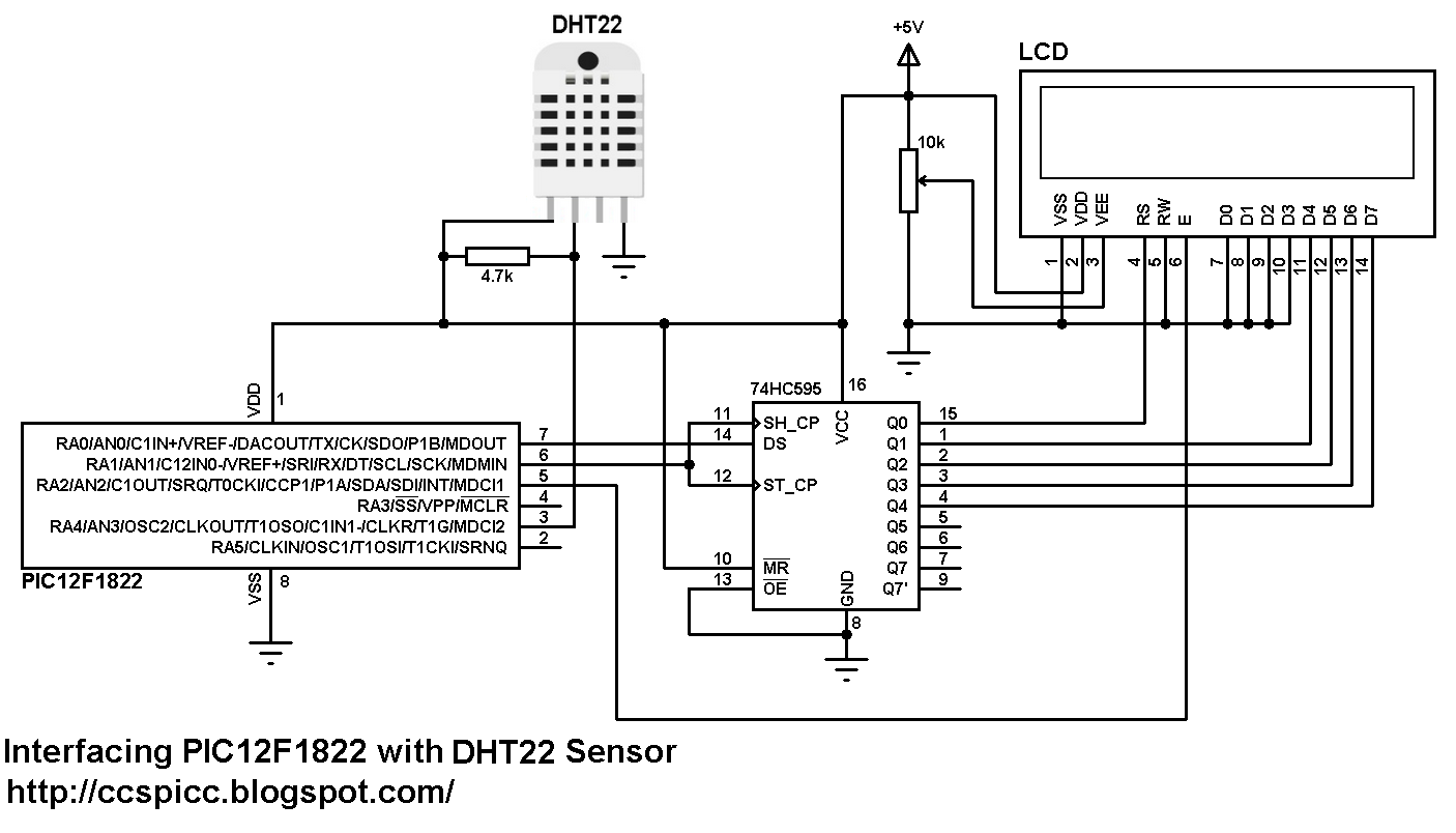 PIC12F1822 + LCD + DHT22 (AM2302) Sensor