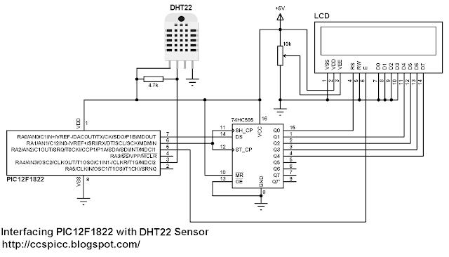 PIC12F1822 + LCD + DHT22 (AM2302 - RHT03) Sensor Circuit CCS