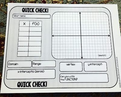 I use this algebra 2 quick check template all the time as a warm up, exit ticket or check for understanding. It's a free download through this post and has saved me so much time in my Algebra 2 class. Now includes a full-page version to use inside a page protector as a way to save paper. We use the math template to graph quadratics, absolute value, radical functions, exponential functions and find domain, range, vertex, y-intercept and zeros. It has been a total time saver in my algebra 2 class. In the post is a link to more free printable math templates.