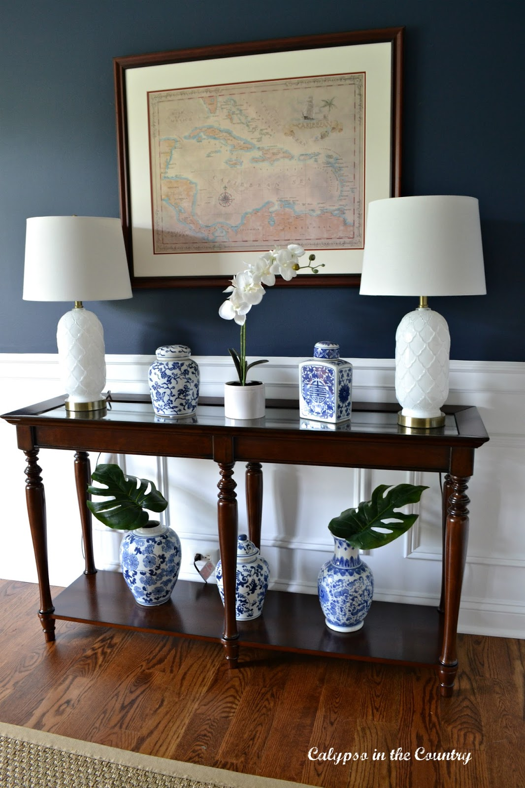 Caribbean Map and Cherry Console Table