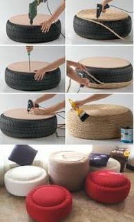 صنع طاولات ومقاعد فخمة باستخدام عجلات تالفة