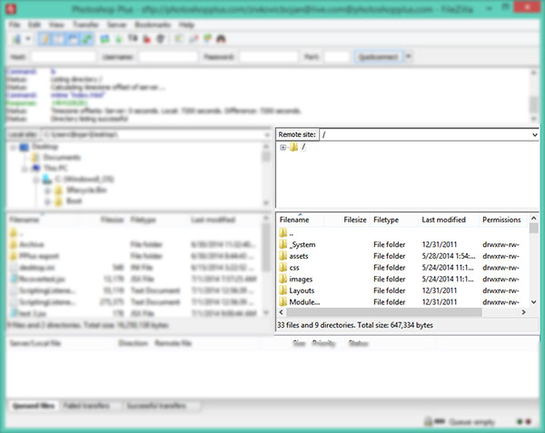 Files on Remote site displayed in FileZilla