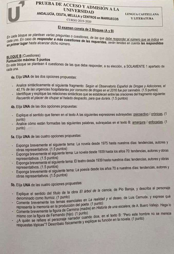 Examen Lengua Selectividad Andalucía 2020