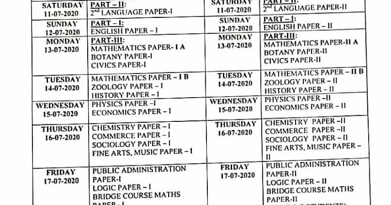 Intermediate Supplementary Time Table... July 2020