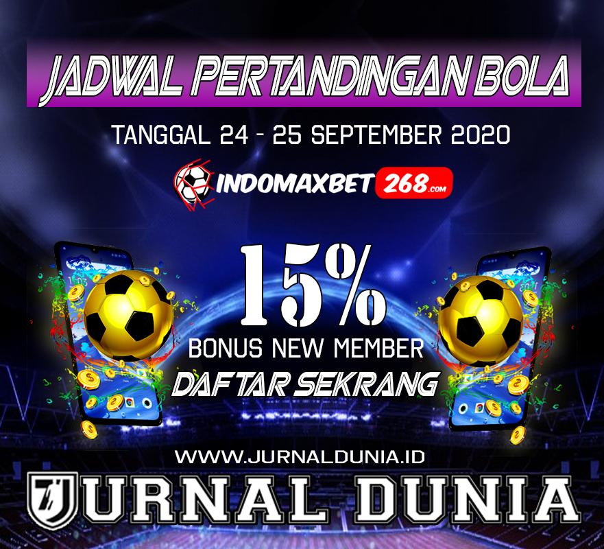 Jadwal Pertandingan Sepakbola Hari Ini, Kamis Tgl 24 - 25 September 2020