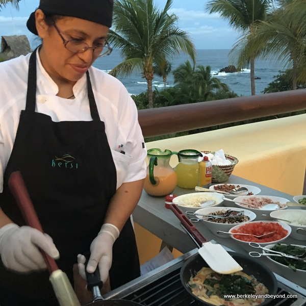 omelette station at Four Seasons Resort Punta Mita in Mexico