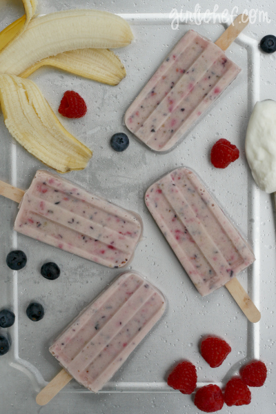 Yogurt Banana Berry Ice Pops