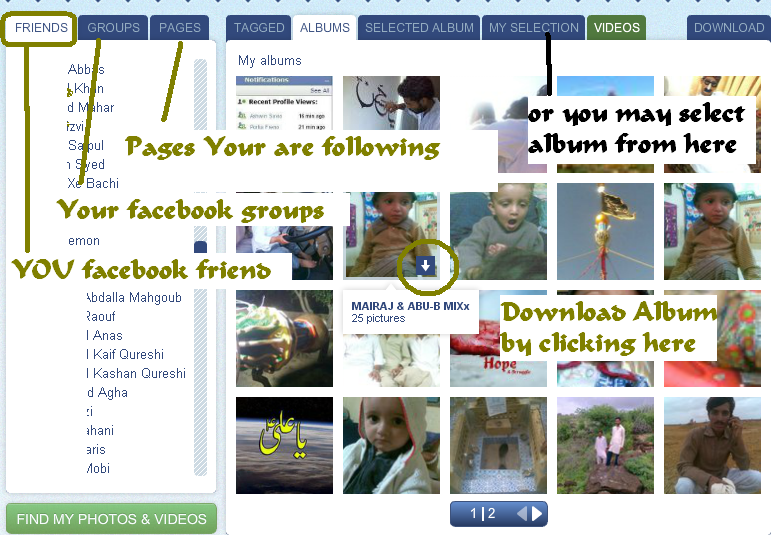 How to download facebook album