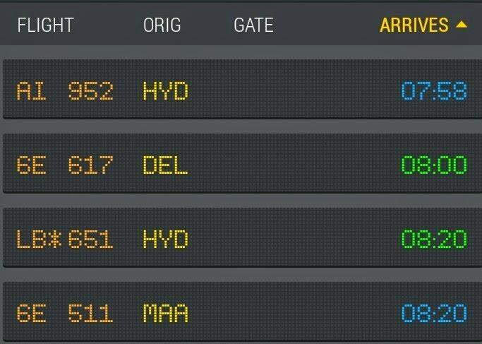 VIZAG AIRPORT ARRIVALS DASHBOARD
