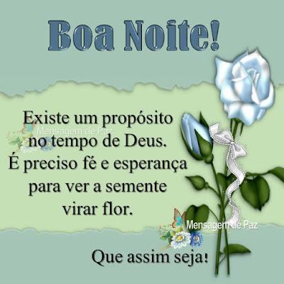Existe um propósito no tempo de Deus.  É preciso fé e esperança para ver a semente virar flor. Que assim seja! Boa Noite!