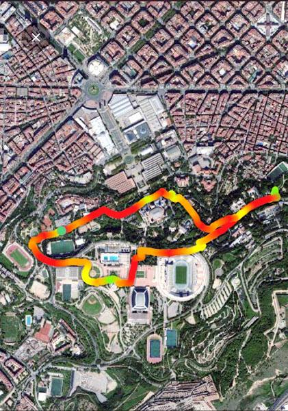 Paseo Montjuic. Recorrido (4,13 km), 17/01/2021