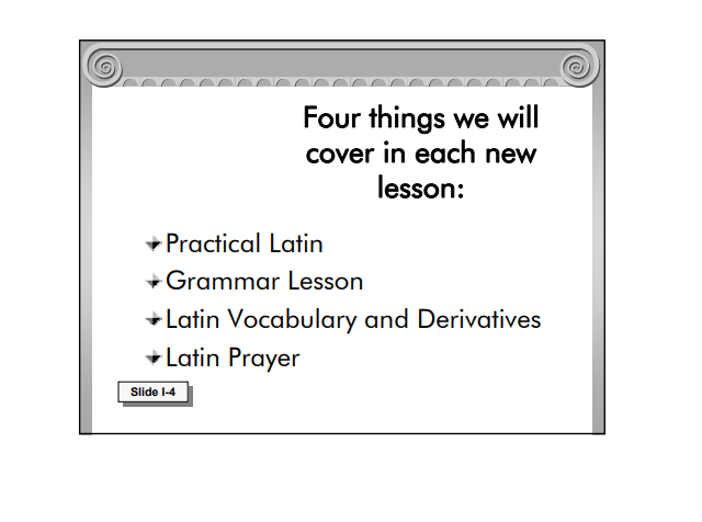 """DVD slide screenshot: """"Four things we will cover in each new lesson"""""""