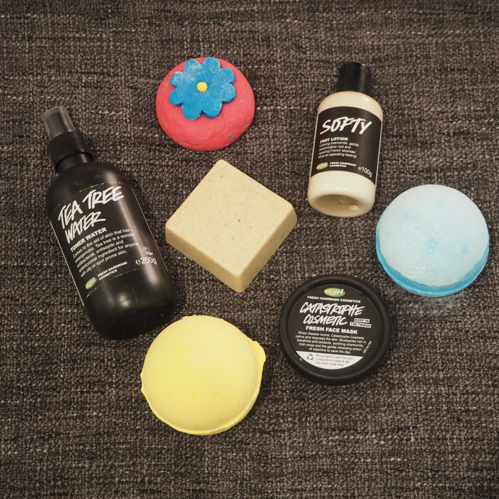 Lush Cosmetics bath bombs, body scrub, toner, foot cream and face mask
