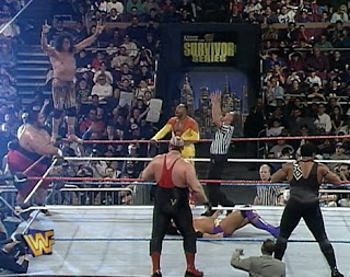 WWF / WWE SURVIVOR SERIES 1996: Hall of Famer Jimmy 'Superfly Snuka' dives onto Fake Razor Ramon
