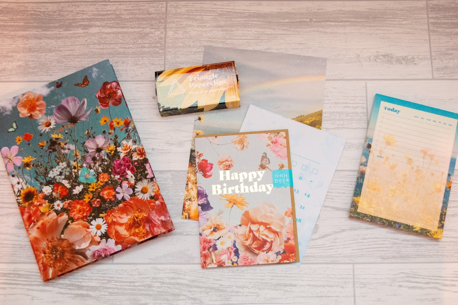 An overview of the contents of the papergang box including a notebook, paperclips and various paper stationery pieces.