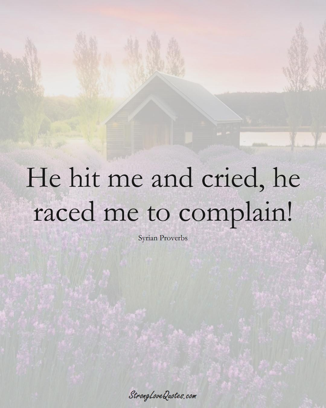 He hit me and cried, he raced me to complain! (Syrian Sayings);  #MiddleEasternSayings